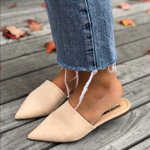 Amore Nude Faux Suede Pointy Toe Flat